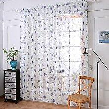 Leinen Garn Drucken Halbschattierung Wohnzimmer Schlafzimmer Das fertige Produkt Verschleiß bar Fenster Vorhänge 1 Panel , white , 145*250cm