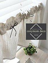 Leinen handgefertigt Natürliche Baumwolle Cafe Gardine, Küche Volants, europäische ländlichen Fashion Fenster Vorhang für Home, einem Stück 30(W) X135Weihnachtskarte (L) cm