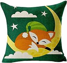 Leinen Kissen Fall, Lovely Fox Muster Rest Kissenbezug Fox with Moon