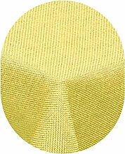 Leinen Optik Tischdecke Oval 130x220 cm Gelb · Oval Farbe wählbar mit Lotus Effekt - Wasserabweisend