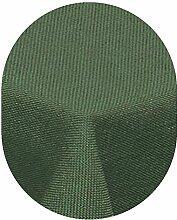 Leinen Optik Tischdecke Oval 135x180 cm Dunkelgrün Grün · Oval Farbe & Größe wählbar mit Lotus Effekt - Wasserabweisend
