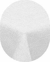 Leinen Optik Tischdecke Oval 160x220 cm Weiss · Oval Farbe & Größe wählbar mit Lotus Effekt - Wasserabweisend