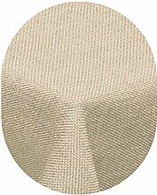 Leinen Optik Tischdecke Oval 160x260 cm Beige Sand Natur · Oval Farbe wählbar mit Lotus Effekt - Wasserabweisend