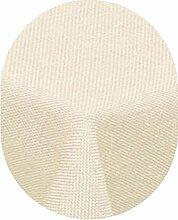 Leinen Optik Tischdecke Oval 160x260 cm Champagner Creme · Oval Farbe & Größe wählbar mit Lotus Effekt - Wasserabweisend