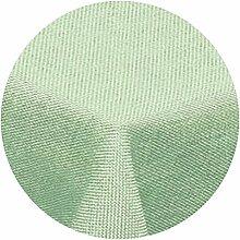Leinen Optik Tischdecke Rund 140 cm Hellgrün Grün · Rund Farbe & Größe wählbar mit Lotus Effekt - Wasserabweisend (R140HGrün)