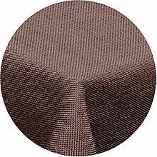 Leinen Optik Tischdecke Rund 160 cm Dunkelbraun Braun · Rund Farbe & Größe wählbar mit Lotus Effekt - Wasserabweisend (R160Braun)