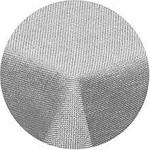 Leinen Optik Tischdecke Rund 160 cm Hellgrau ·