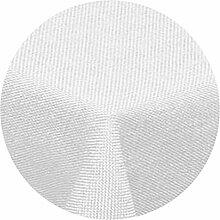 Leinen Optik Tischdecke Rund 160 cm Weiss · Rund Farbe & Größe wählbar mit Lotus Effekt - Wasserabweisend (R160Weiss)