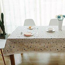 Leinen Tischdecke,Ländliche Saubere Tischdecke,Couchtisch Runde Tischdecke Stil Tuch Tapete-I 110x170cm(43x67inch)