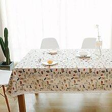 Leinen Tischdecke,Ländliche Saubere Tischdecke,Couchtisch Runde Tischdecke Stil Tuch Tapete-K 90x140cm(35x55inch)