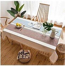 Leinen Tischdecke mit hochwertig umsäumtem