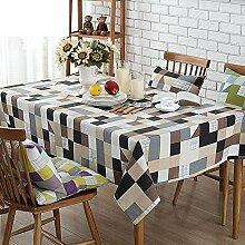 Leinen Tischdecke,Stoff Tabelle Tuch Pad,Tischfahne American Runde Tischdecke,Rechteckige Tischdecke-K 90x140cm(35x55inch)