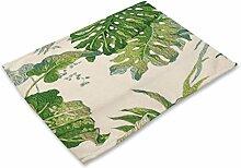 Leinen Tuch Isolierung Matratze Pflanze grün Blatt Druck Geschirr Matte Cotton Leinen + Stoff Western Mahlzeit Matte,#15,42cm*32cm
