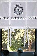 Leinenshop24 Landhaus Gardine Paris Fleurs Weiß