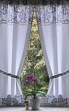 Leinenshop24 Landhaus Gardinen Set Weiß Grau