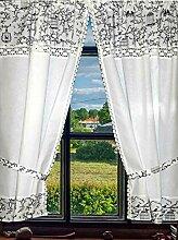 Leinenshop24 Landhaus Gardinen Set Weiß mit