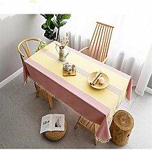 leinenTischdecke Baumwolle, gelb, pink,