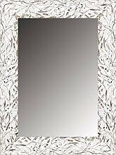 Leinwände Levante Spiegel Bad/Flur Dekoration, Holz, Weiß und Silber, 99x 77cm