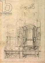 "Leinwand-Bild 80 x 110 cm: """"W.26r Design for the Medici Chapel in the church of San Lorenzo, Florence (charcoal)"""", Bild auf Leinwand"