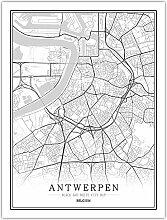 Leinwand Bild,Belgien Antwerpen Stadtplan Einfache