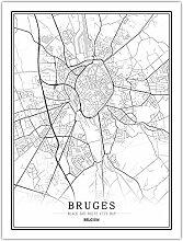 Leinwand Bild,Belgien Brügge Stadtplan Einfache