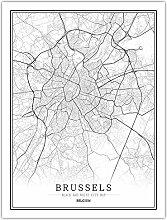 Leinwand Bild,Belgien Brüssel Stadt Karte Einfach