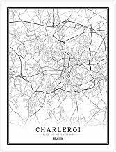 Leinwand Bild,Belgien Charleroi Stadtkarte