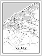 Leinwand Bild,Belgien Ostende Stadtplan Einfache
