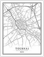 Leinwand Bild,Belgien Tournai Stadtplan Einfache