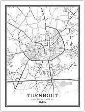 Leinwand Bild,Belgien Turnhout Stadtkarte Einfache