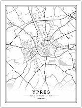 Leinwand Bild,Belgien Ypern Stadtkarte Einfache