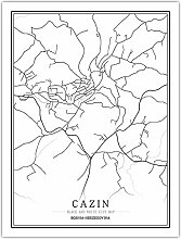 Leinwand Bild,Bosnien-Herzegowina Cazin Stadtplan