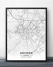 Leinwand Bild,Deutschland Aachen Stadtplan