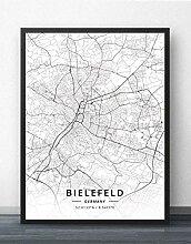 Leinwand Bild,Deutschland Bielefeld Stadtplan