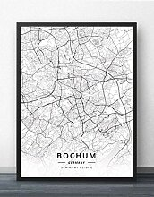 Leinwand Bild,Deutschland Bochum Stadtplan
