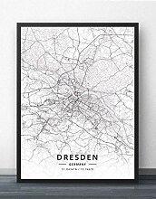 Leinwand Bild,Deutschland Dresden Stadtplan