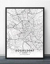Leinwand Bild,Deutschland Düsseldorf Stadtkarte