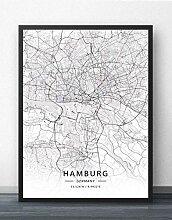 Leinwand Bild,Deutschland Hamburg Stadtplan
