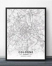 Leinwand Bild,Deutschland Köln Stadtplan Einfache