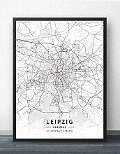 Leinwand Bild,Deutschland Leipzig Stadtplan