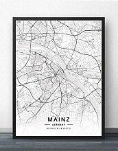 Leinwand Bild,Deutschland Mainz Stadtplan Einfache