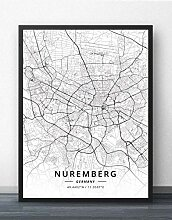 Leinwand Bild,Deutschland Nürnberg Stadtplan