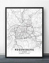 Leinwand Bild,Deutschland Regensburg Stadtplan