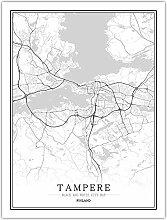 Leinwand Bild,Finnland Tampere City Karte Einfache