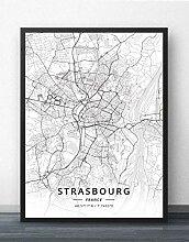Leinwand Bild,Frankreich Straßburg Stadtplan