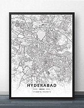 Leinwand Bild,Indien Hyderabad Stadtplan Einfache