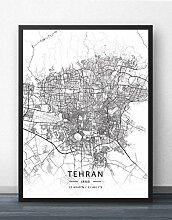 Leinwand Bild,Iran Teheran Stadtplan Einfache
