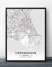 Leinwand Bild,Kopenhagen Dänemark Stadt Karte