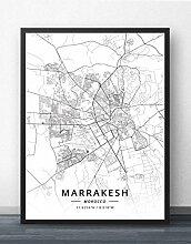 Leinwand Bild,Marokko Marrakesch Stadtplan