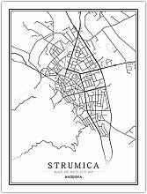 Leinwand Bild,Mazedonien Strumica Stadtkarte